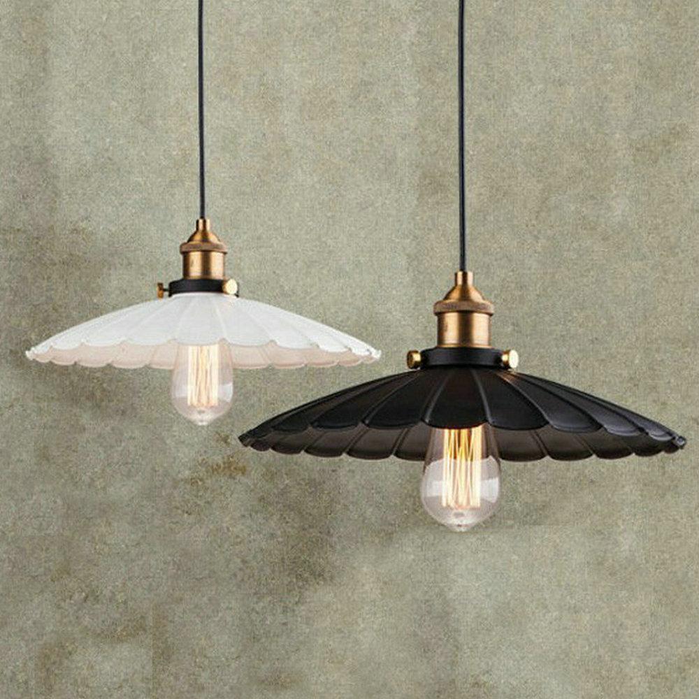 ФОТО E27 Painted Iron Retro vintage pendant light White/Black color D25,36,42cm Countryside Antique lamp Pendant lamp the lotus shape