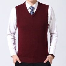 Mens Sweater Vest Casual Style Male V-neck Knitted Vest Business Office Man Pure Color Wool Sleeveless Sweater Pullovers