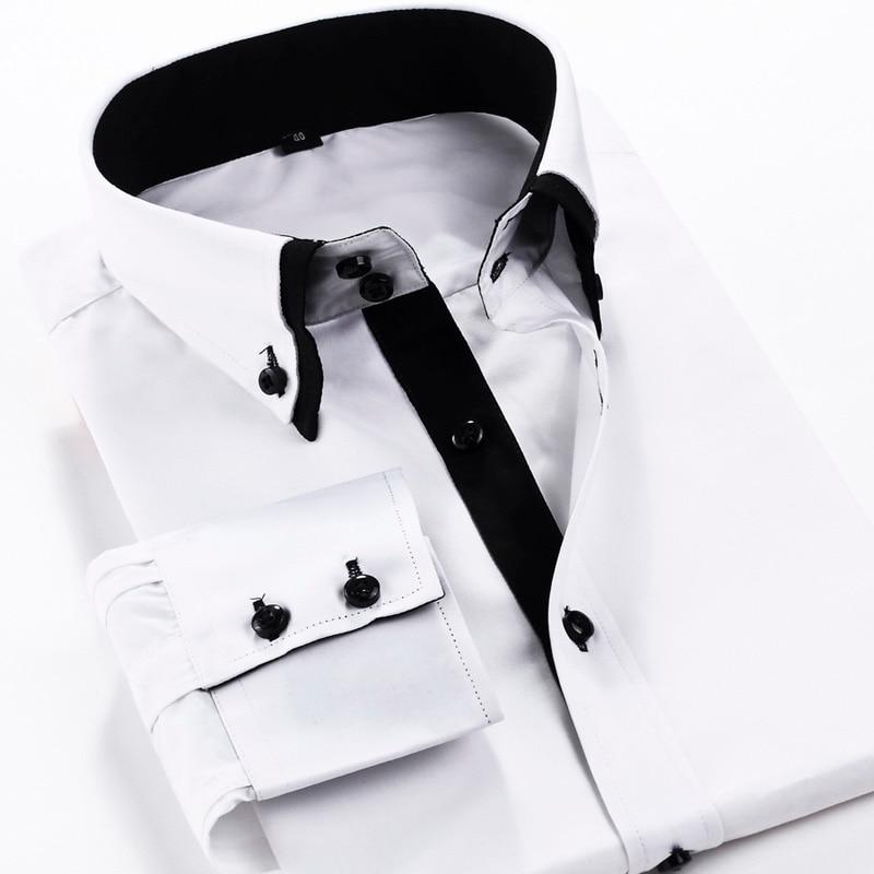 cc0e0320ca19 Men Double Collar Dress Shirt Mens Printing Shirt S 4XLSlim Fit Shirt Long  Sleeve Cotton Shirt for Men-in Dress Shirts from Men's Clothing on  Aliexpress.com ...