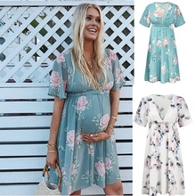 цены на Floral Print Maternity Dresses V Neck  Short Sleeve Chiffon Women  Dress Pregnancy Summer Dress в интернет-магазинах