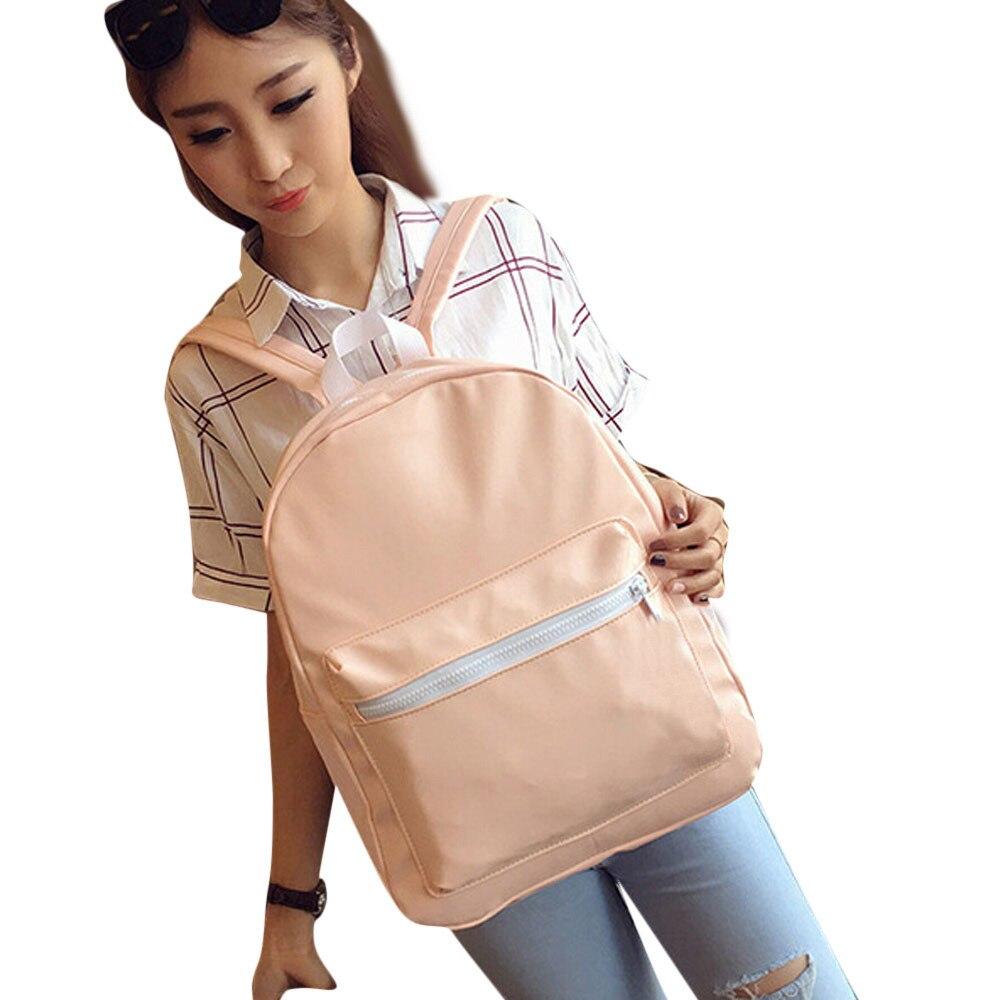 ff622b9da9e Hot Sale Women Girls Leather School Bag Travel Backpack Zipper Big Storage  Satchel Women Shoulder Rucksack Backpacks bolsa-in Backpacks from Luggage    Bags ...