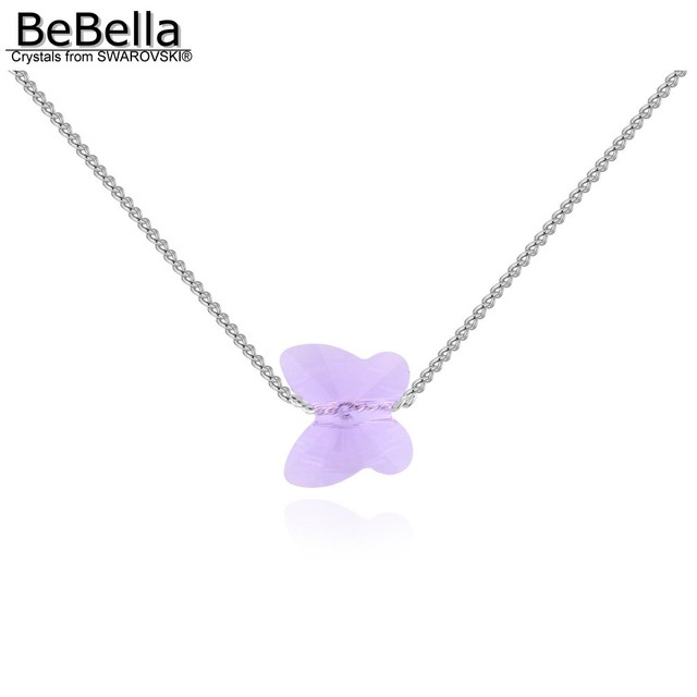BeBella mini butterfly pendant necklace with 1cm crystals from Swarovski thin chain fashion jewelry for women girl kid gift 2018