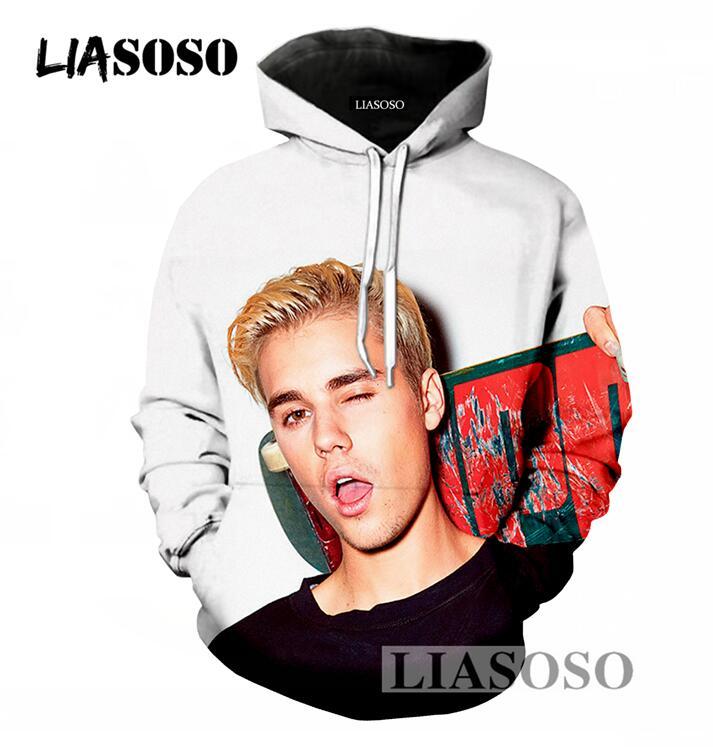 LIASOSO Spring Autumn Men/Women Pullover Hoodies Casual Long Sleeve Sweatshirt 3D Print Justin Bieber Hoodies Loose Hooded T695