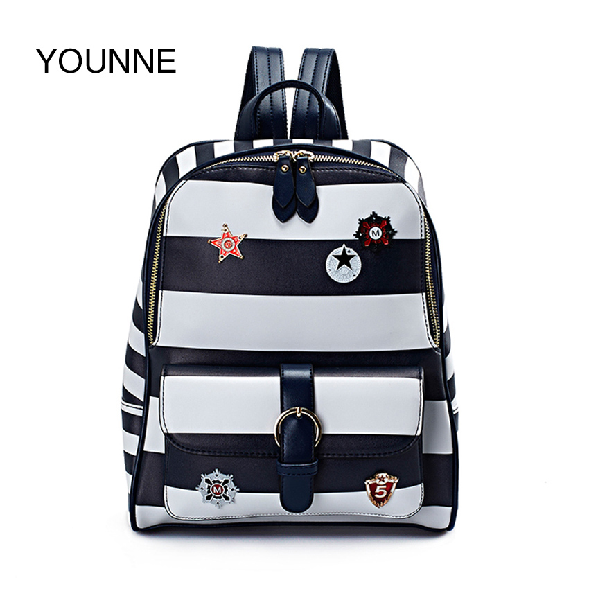 YOUNNE Women Backpack Backpacks For Girls Casual Dailly High Quality School Bag Female Fashion Navy Stripe Daily Shoulder Bags hot sale 2016 new fashion women genuine leather backpack school bag female travel bags daily backpacks casual shoulder bags