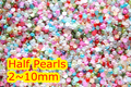 2mm, 4mm, 6mm, 8mm, 10mm posterior Plana Mixtos Colores ABS ronda media Perla de los granos, imitación plástica de la media perla perlas