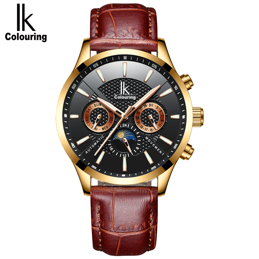 IK colouring Luxury Men Watches Automatic Mechanical Business Self Winding Mens Watch Leather Calendar Moon Phase Wristwatches|Mechanical Watches| |  - title=