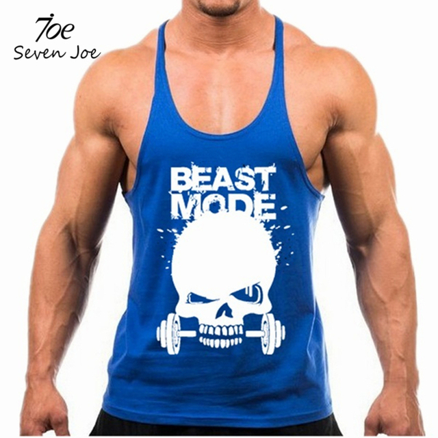 5ed703dc3e2156 Skull Weightlifting print Stringer Tank Top Men Bodybuilding and Fitness  Vests Cotton Singlets Muscle Tops