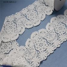 HAWARULU 2yard DIY Milk silk water-soluble lace white embroidery elastic fabric curtain clothing accessories wedding