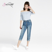 Brief Relate Woman jeans Mid-waist Cropped Pencil Pant Comfortable and Elastic All-Match durable