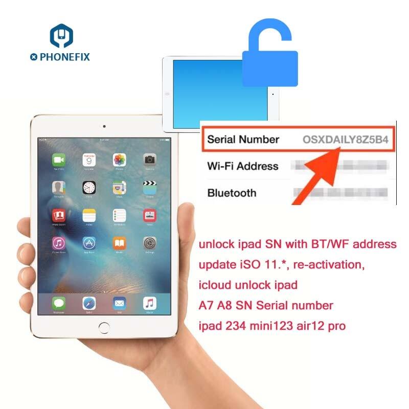 For IPad Unlock Serial Number BT Wifi Address For Ipad 2 3 4 5 6 Air1 2 Mini 1234 Pro 100% Fix Activation Error Read Describe
