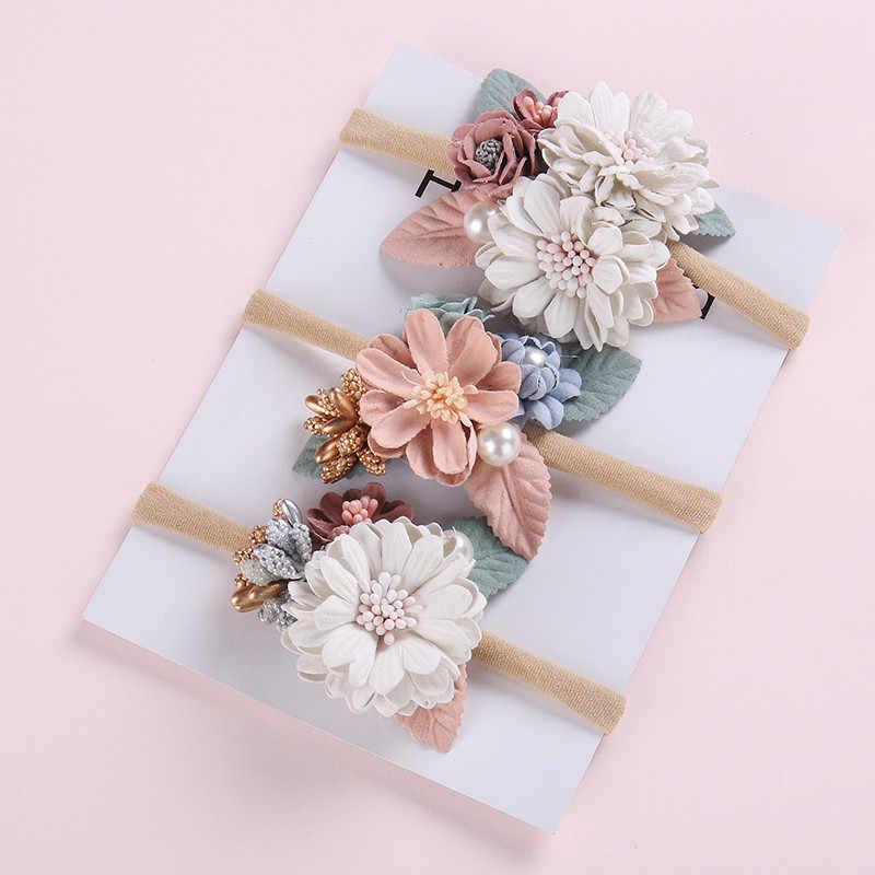 Bohemia nylon florales bebé diadema, corona de flores recién nacido accesorios de pelo para niño diademas flor diadema boda HB308S