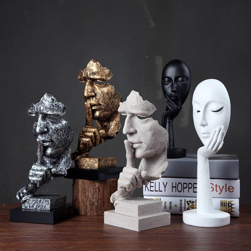 Creative Collections Silence Est D'or Abstraite Sculpture Artisanat Décoration Rétro Bureau Salon Motifs Cadeau Présentation