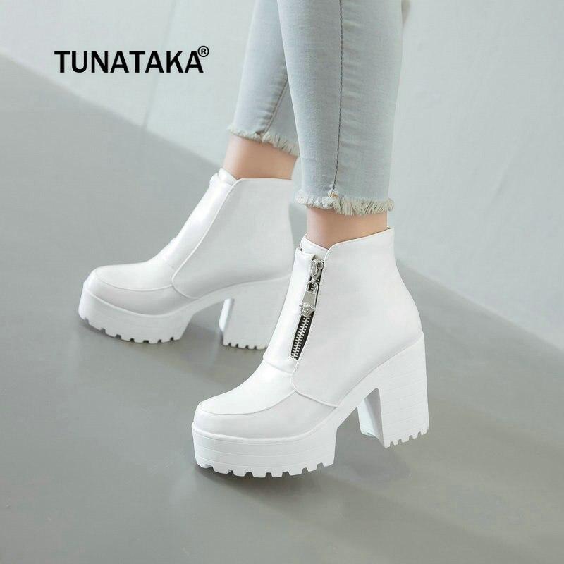 Женская Мода полусапожки с боковой молнией на платформе и Высоком толстом каблуке женские сапоги Зимняя женская обувь белый черный ...