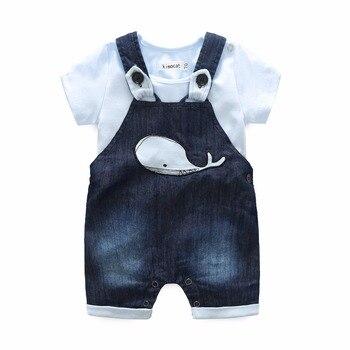 tz1125 Kimocat Boy Clothing 2Pcs Sets Summer Kid's Clothes Cotton Whale Short Sleeve Romper + Pants Children Clothing Suits Blue