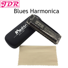 JDR Harmonica 10 Hole 20 Tones Mouth Organ Blues Professional Harmonica Metal Musical Instrument Key Of C For Rock Jazz Folk недорого