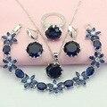 ASHLEY Moda y Sistemas de La Joyería Para Las Mujeres Pendientes de Piedra de Plata del Color de Bohemia Azul Pulsera Colgante Anillo de Collar de Caja de Regalo Libre