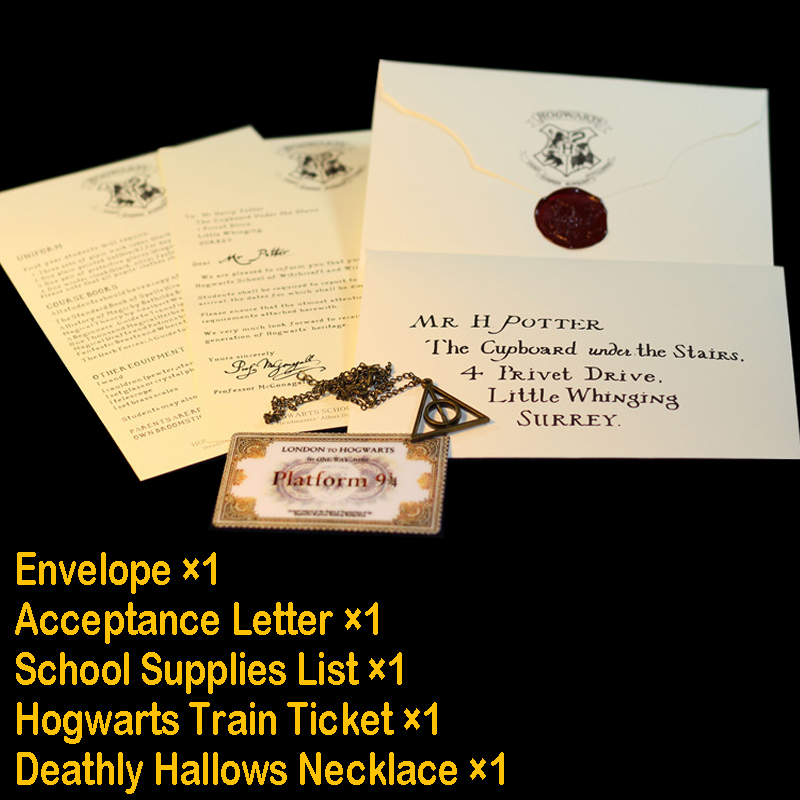 Harry Movie Hogwart Acceptance Letter Package Cosplay Props For Adult And Children Birthday Gift Hp Props