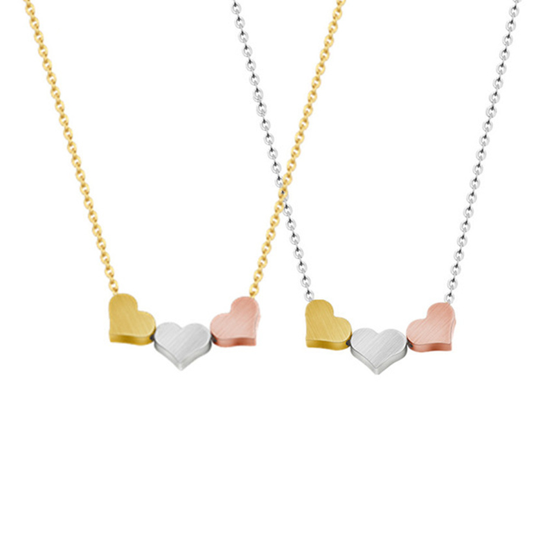 Trendy Ethnic Rose Gold Silver Color Three Heart Pendant Necklace for Women Stainless Steel Statement Bohemian Valentine Gift