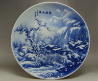 Chinese decorative hand Rare Blue and White Porcelain Plate Mountains Snow map