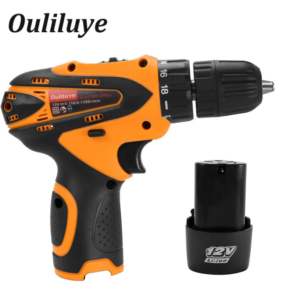12V Adjustable Two Speed Wireless Cordless Impact Drill Electronic Wood Screwdriver Power Driver Rechargeable Lithium Battery