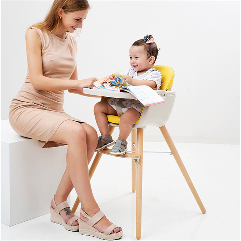 Portable Baby High Chair Fauteuil Enfant Safety Baby Feeding Chair for Feeding Adjustable Wood Dining Chair Kids Table