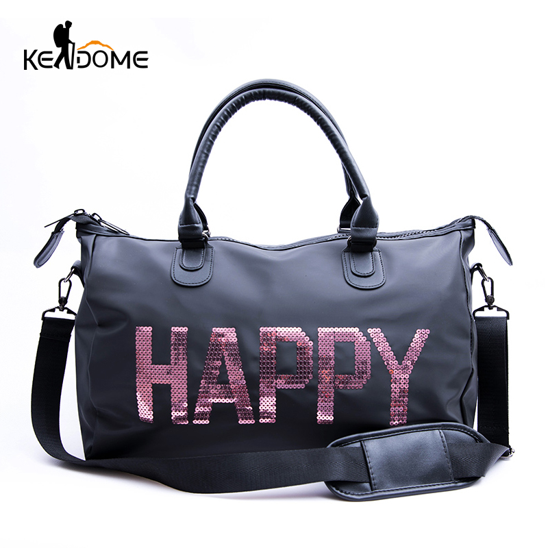 e5fe13aeaaa7 Waterproof Nylon Top Sport Bag Lady Sequins Letter Printing PINK Luggage Bag  in Travel Bags Duffel