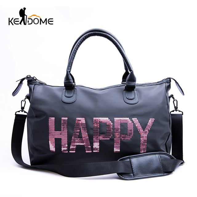 Waterproof Nylon Top Sport Bag Lady Sequins Letter Printing PINK Luggage Bag in Travel Bags Duffel Gym Bag Women Fitness XA842WD