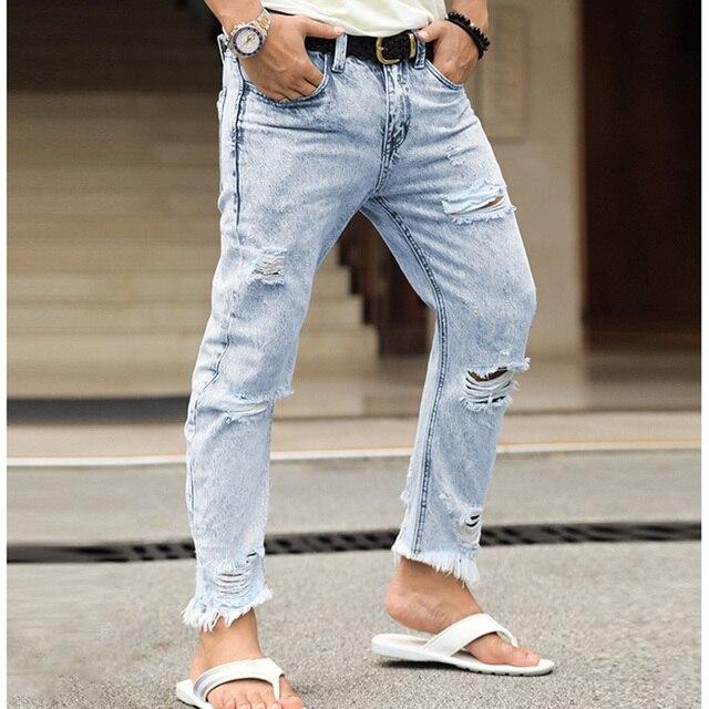 Брендовые мужские джинсы мода 2018 новая весна светло-синие джинсы брюки мыть старые джинсы мужские рваные Distressed Skinny Jeans мужчин k651
