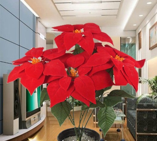 Plantes artificielles fleur artificielle de noël rouge fleur artificielle petit poinsettia plantes dans Artificielle et Fleurs Séchées de Maison & Jardin