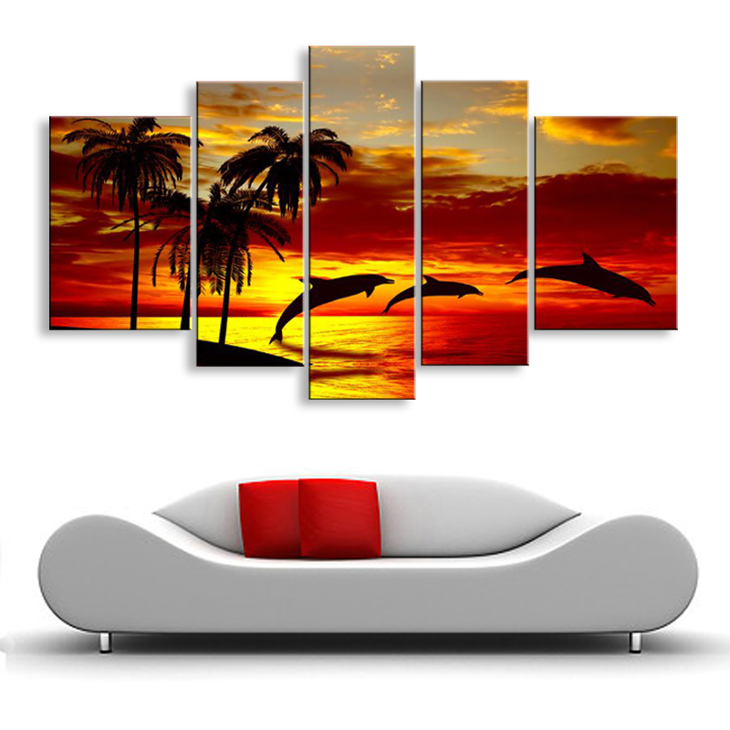 hand-painted oil wall art Sunrise beach dolphins home decoration abstract Landscape oil painting on canvas 5pcs/set  DY-068