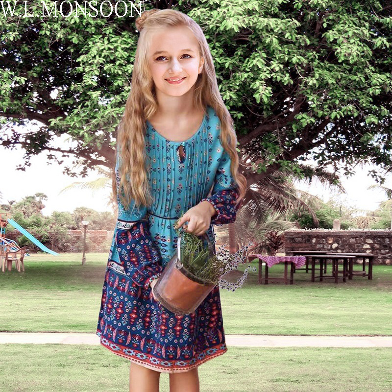 W.L.MONSOON Baby Girls Dress with Sashes 2017 Autumn Brand Princess Dress Girls Clothing Flower Kids Dresses Children Clothes