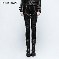 Punk Rave Zwarte vrouwen rock mode straat stijl Armor Borstel Strakke Broek Broek prestaties kleding K292
