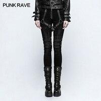Punk Rave Black women rock fashion street style Armor Brush Tight Pants Trousers performance clothing K292