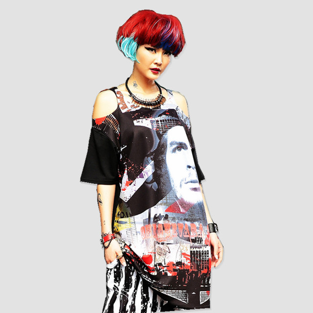 just.be.never hip hop women summer T shirts bare shoulder tops black  soldiers graphic print harajuku large size k-pop streetwear 6675d7a4f8db