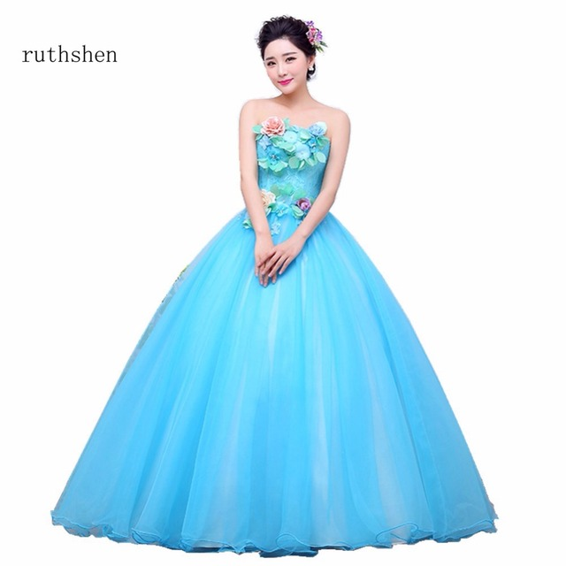 ruthshen Blue Quinceanera Dresses Strapless Debutante Prom Dress Flowers  Lace Sweet 16 Masquerade Ball Gowns Luxury 59ec4862f84a