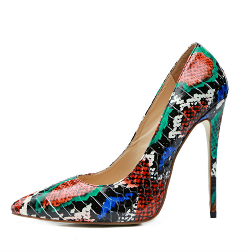 Sexy stiletto high heels 2018 mixed color snake print women pumps club party wedding shoes big size 43 mixed print cami top