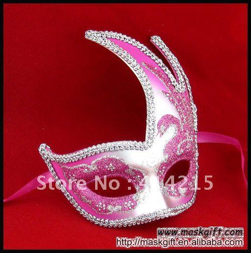 В США Вечерние Маски, ярко-розовый и серебряный Лебедь шаблон Маскарадная маска