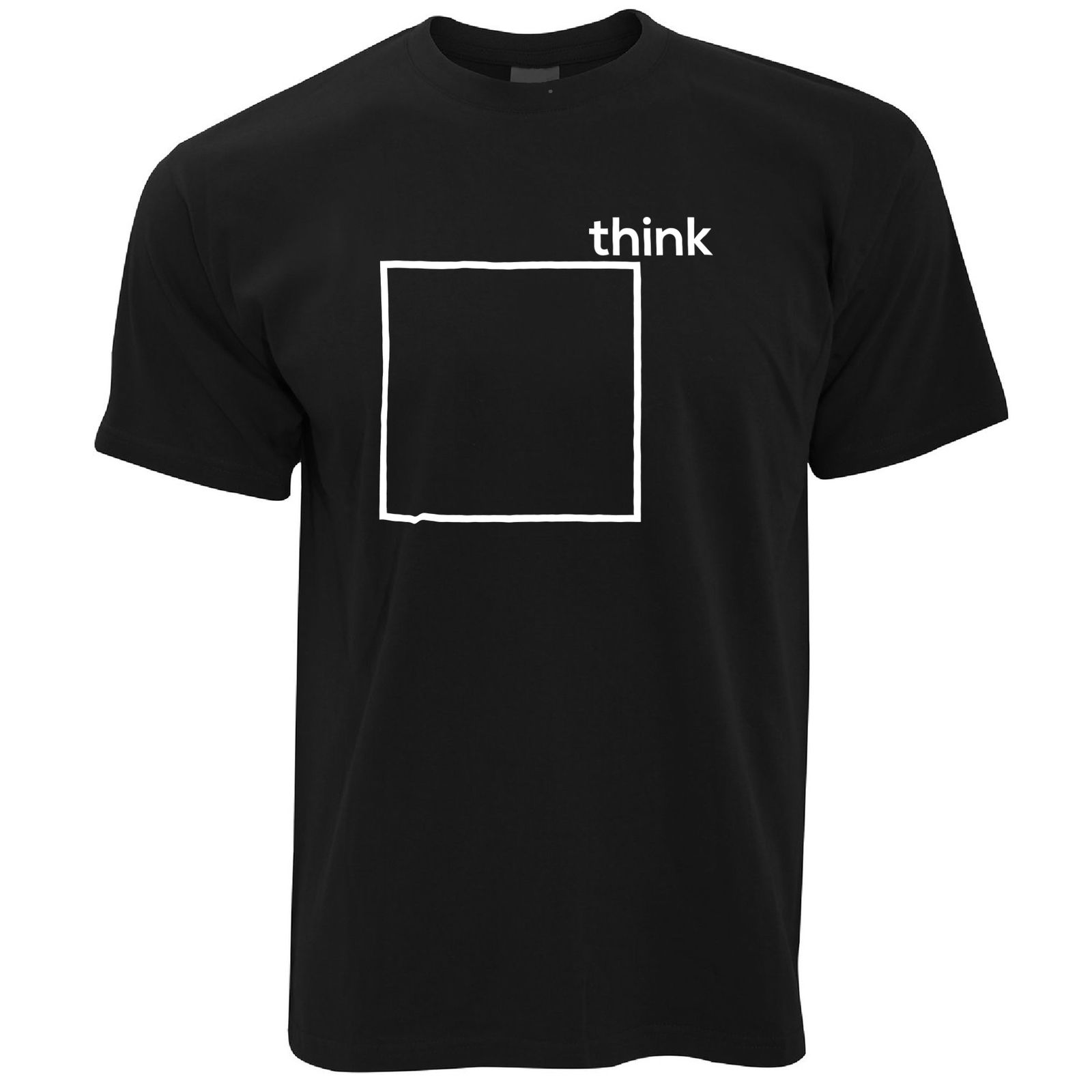 Novelty T Shirt Think Outside The Box Pun Joke Nerd Geek Graphic image