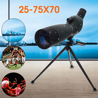 Zoom Spotting Scope Monocular Telescope BAK4 Prism Objective Lens Optics Waterproof Birdwatching Camping with Tripod 25 75X70