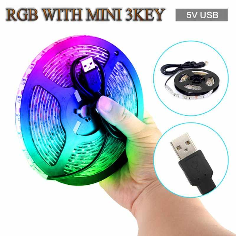 USB 24key LED Strip DC 5 V Flexibele Licht 60 LEDs 50 CM 1 M 2 M 3 M 4 M 5 M SMD 2835 Desktop Decor Screen TV Achtergrond Verlichting