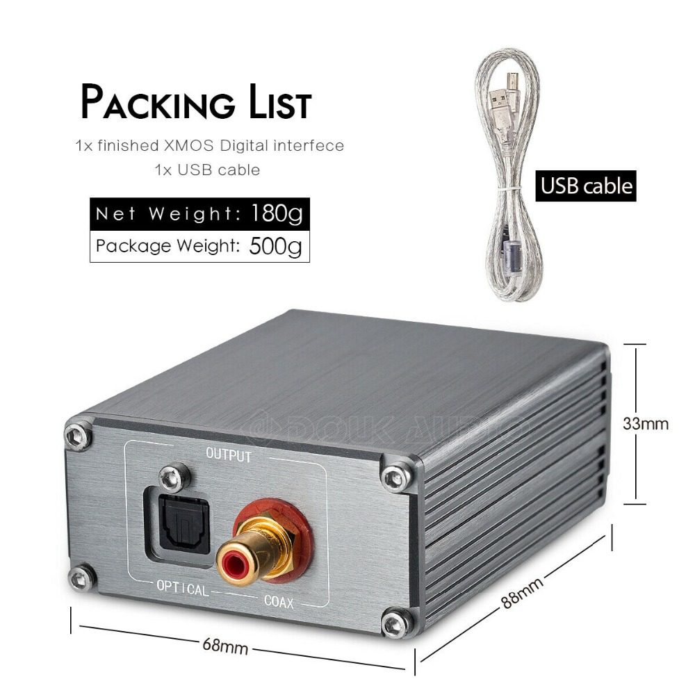 XMOS USB to Coaxial Optical Digital Interface I2S PCM//DSD 0.1PPM 192K 24Bit