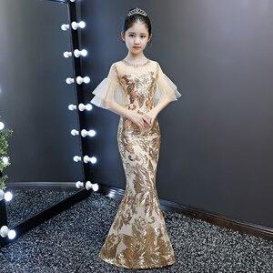 Детское роскошное свадебное платье, детское вечернее платье с золотыми блестками, облегающее вечернее платье-русалка, Элегантное коктейль...