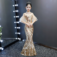 Kid luxury wedding dress children girl evening gold sequin bodycon trumpet mermaid party elegant cocktail chinese style dress