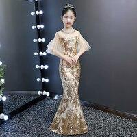 Kid luxury wedding dress children girl evening gold sequin bodycon trumpet mermaid party elegant cocktail chinese style dress