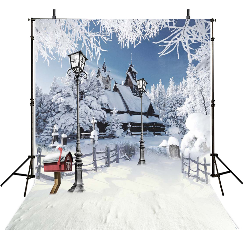 Christmas Photography Backdrops Snow Backdrop For Photography Winter house Background For Photo Studio Snowflak Foto Achtergrond white stage background snow pine snow blue sky festival background wedding photography backdrops
