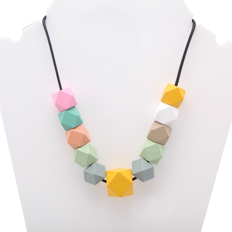SANSHOOR Personailzed Rainbow Beads Adjustable Pendant Necklaces With 80cm Leather Rope Chain 20mm 15mm Geometric Beads 1pcs