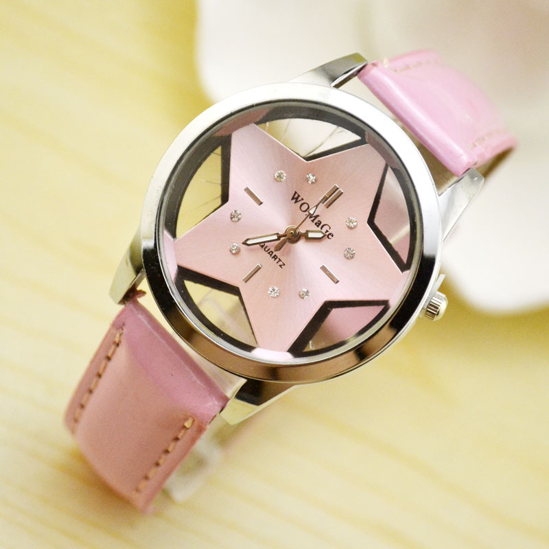 Fashion Womage Brand Cute Five-pointed Star Designer Style Wholesale Female Watches Lovely Pu Leather Nice Women Clocks Oem Time