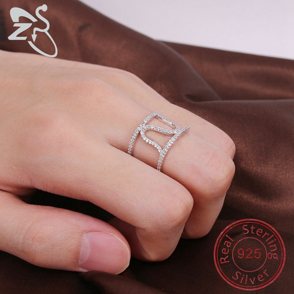 ZS Fashion Double Rings for Women 925 Sterling Silver Wave design ...