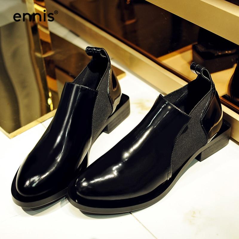 En Chaussures Automne forme A7178 Cuir Femmes Suede 2018 Mode black Cheville Plate Bottes Noir Épais Verni Britannique Talon Ennis Véritable qgtaxZw