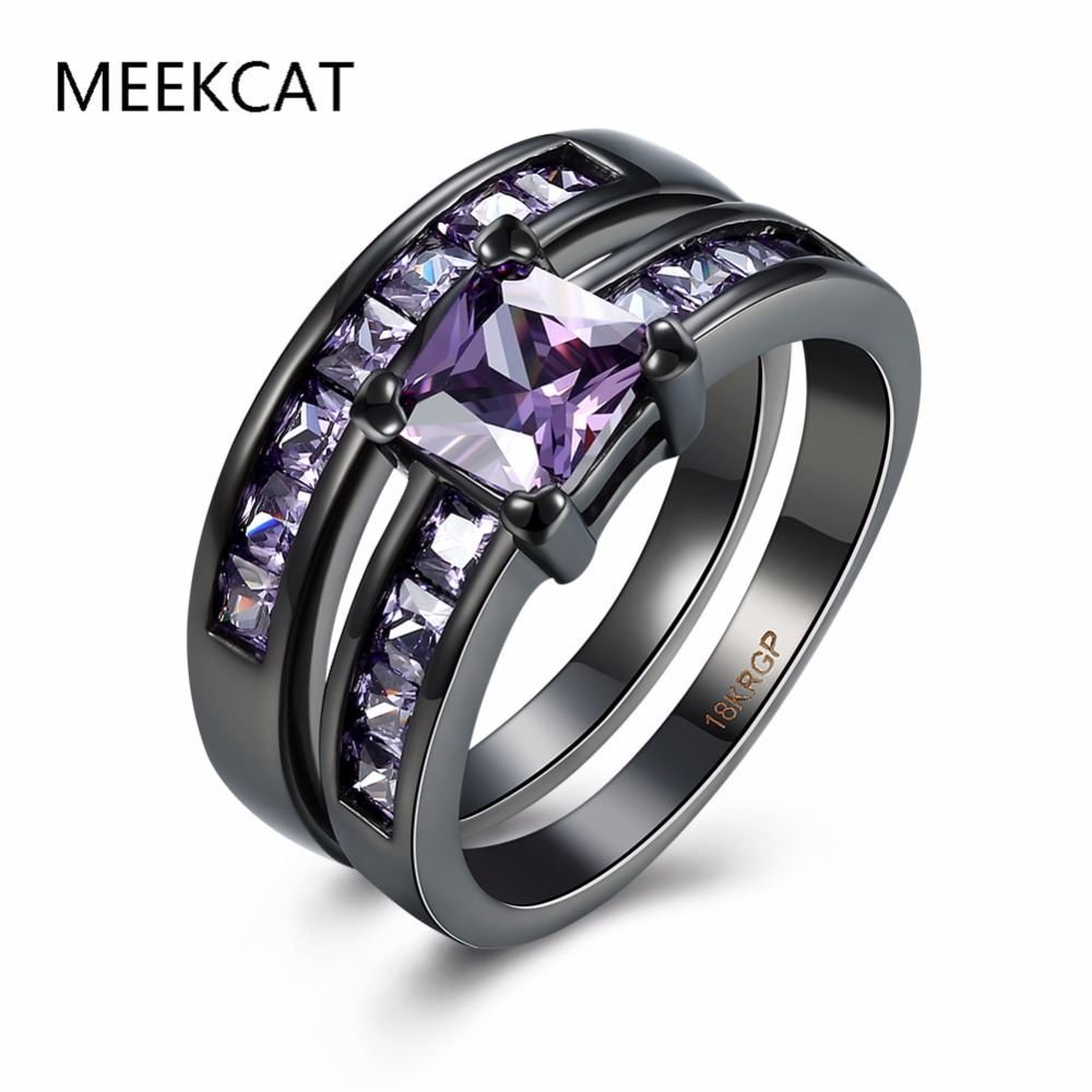 Meekcat New Vintage Two Band Black Rings Ring Sets Princess Cut Purple Cz  Cubic Zirconia Engagement Jewelry For Women